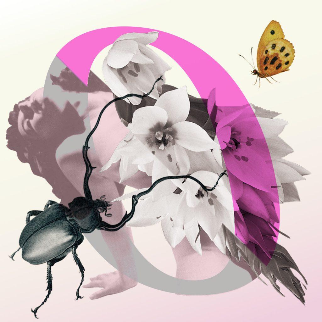 """""""logo ongehoord met een roze o, een grote tor, een gele vlinder en een halfnaakte vrouw"""""""